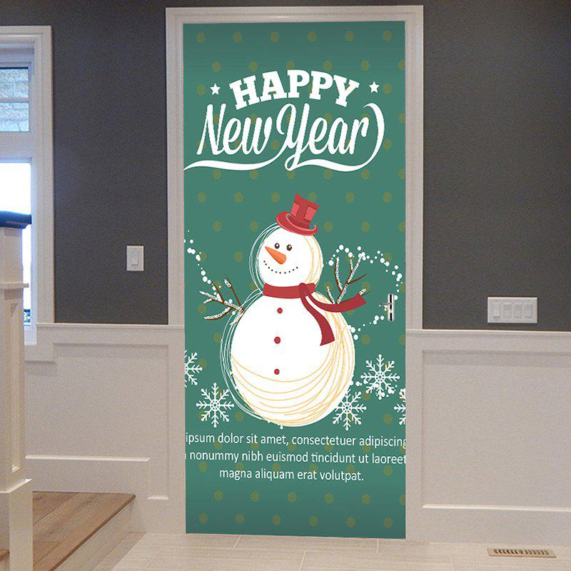 Sale Happy New Year Snowman Pattern Door Cover Stickers