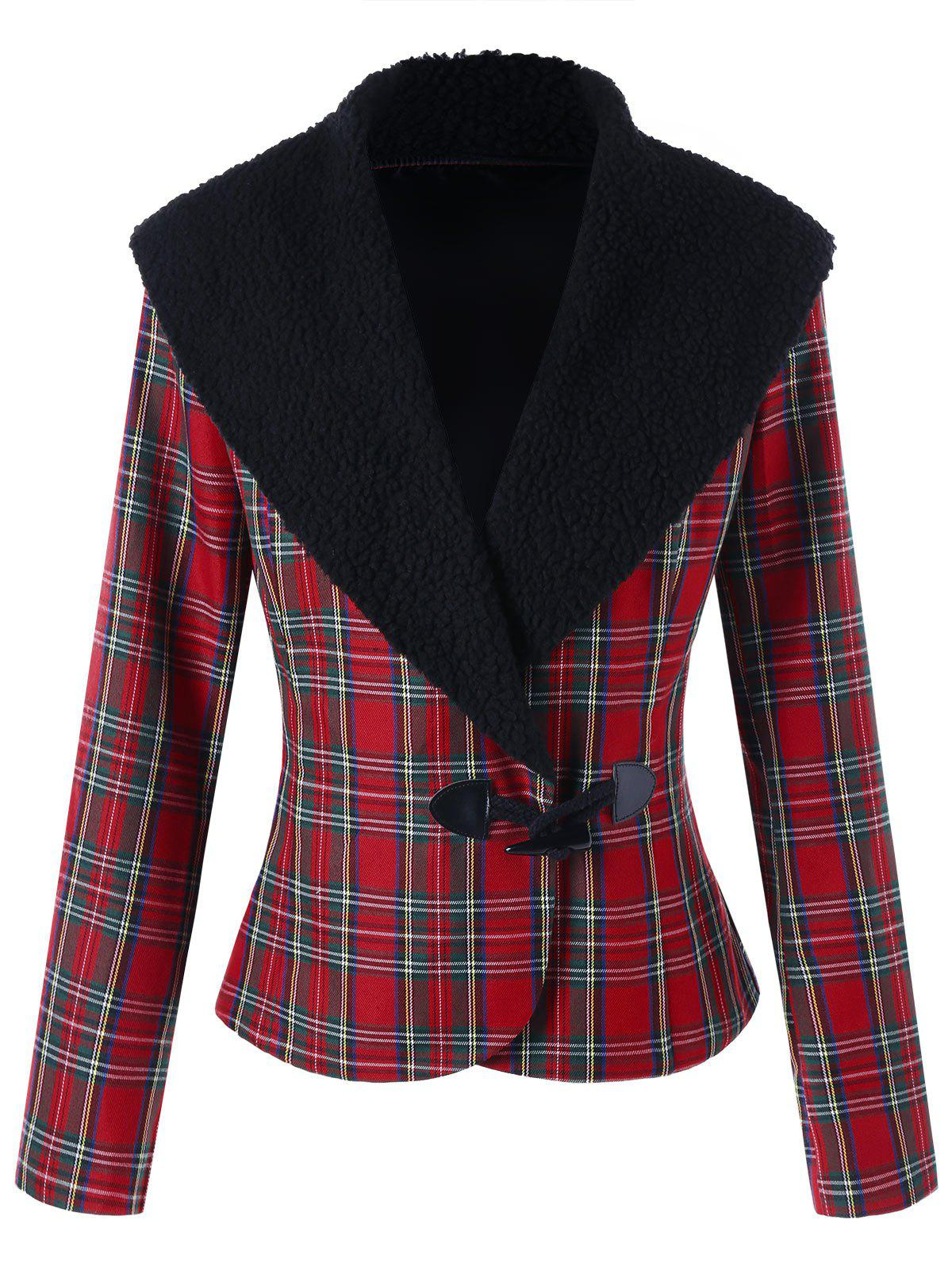 New Plaid Horn Button Jacket