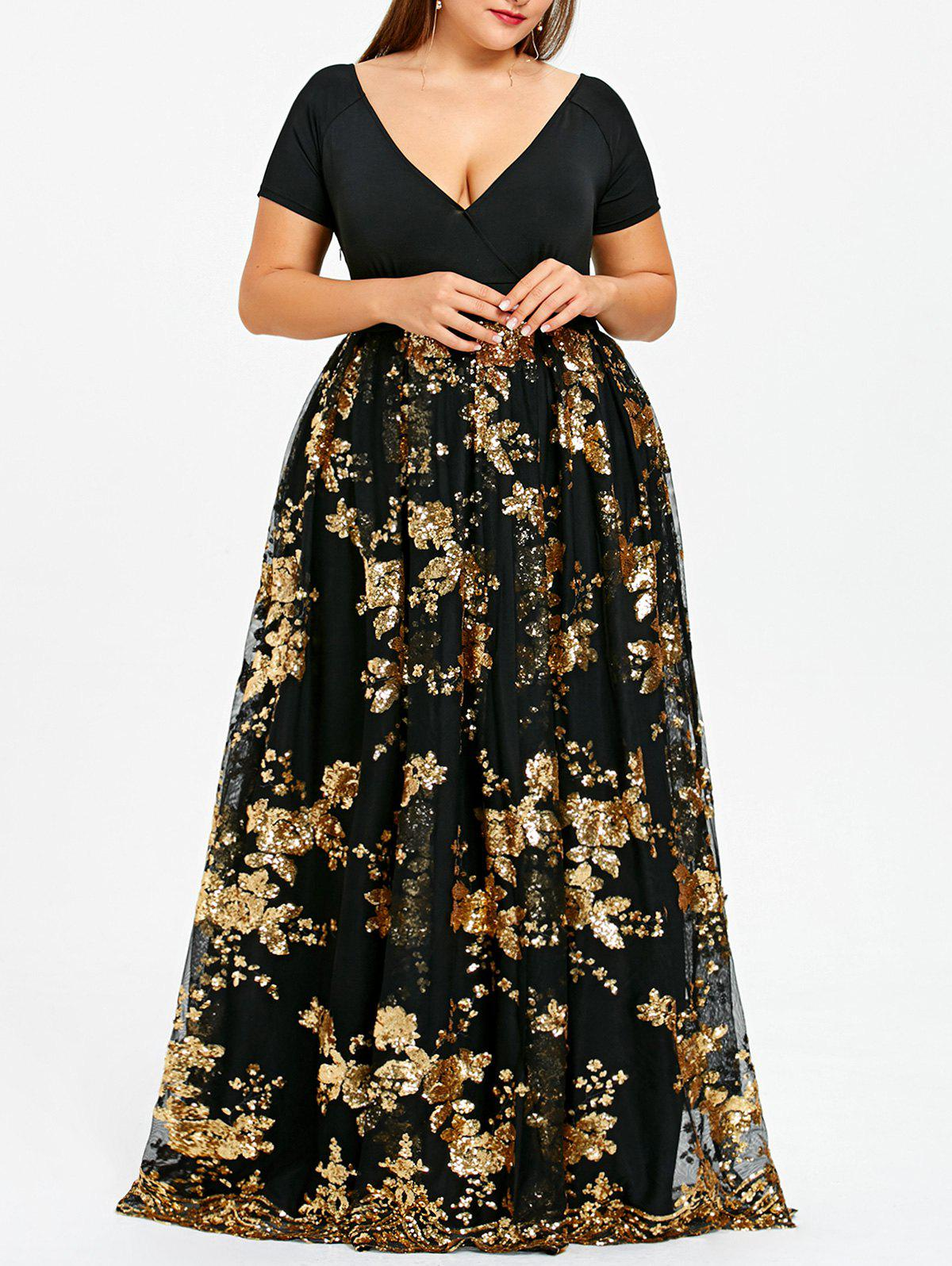 Cheap Plus Size Floral Sequined Maxi Prom Dress