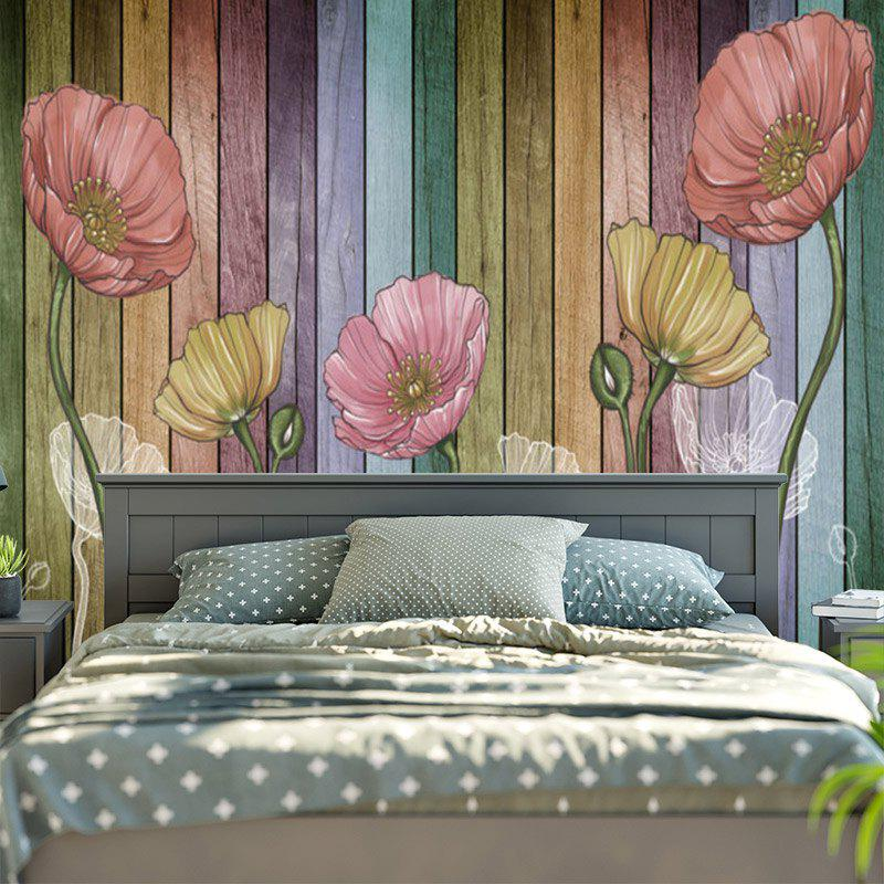 Shops Flower and Wood Board Pattern Wall Hanging