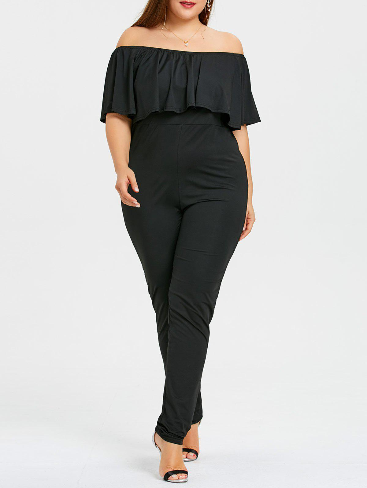 Best Ruffles Plus Size Off The Shoulder Maxi Jumpsuit