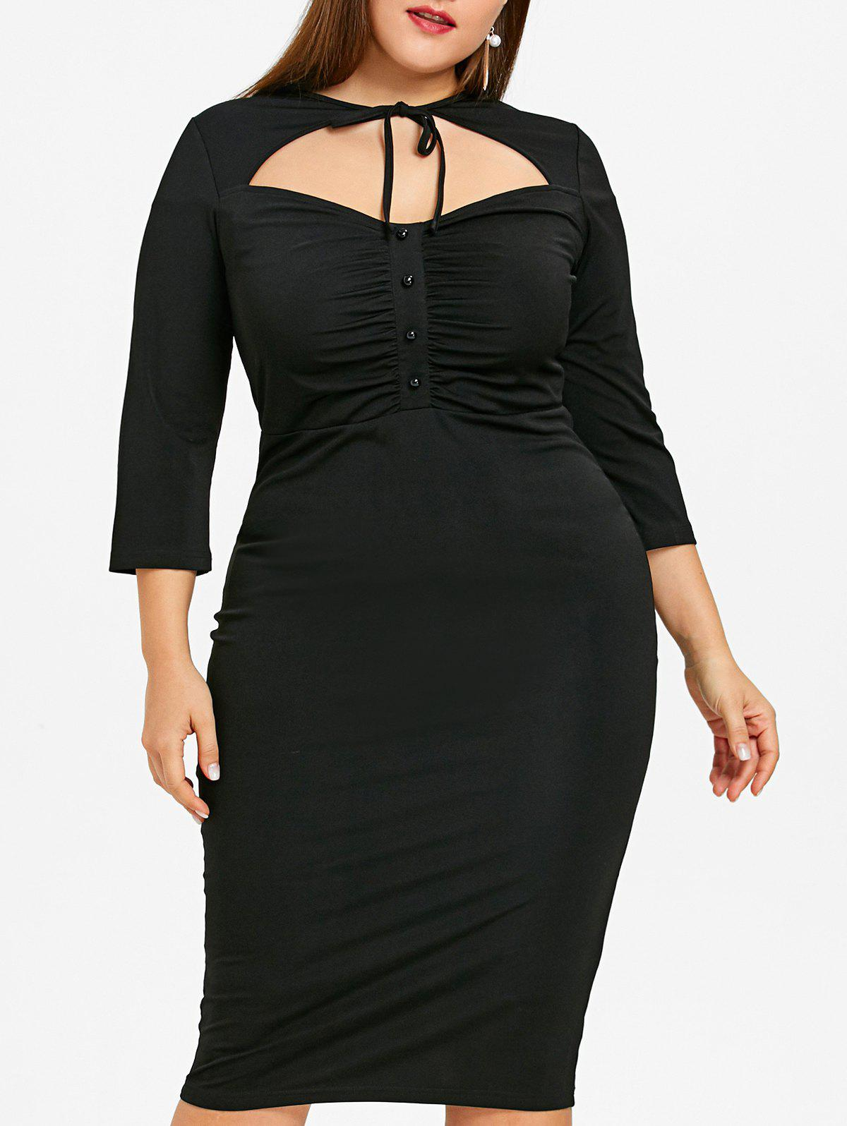 Discount Cut Out Plus Size High Waist Bodycon Dress