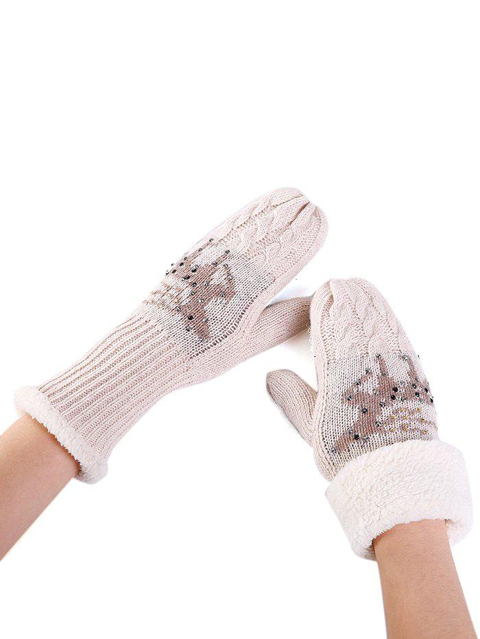Fashion Cute Elk Pattern Embellished Rhinestone Knitted Gloves