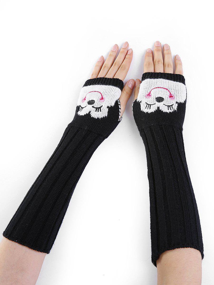 Fancy Cute Cartoon Pattern Embellished Knitted Fingerless Arm Warmers