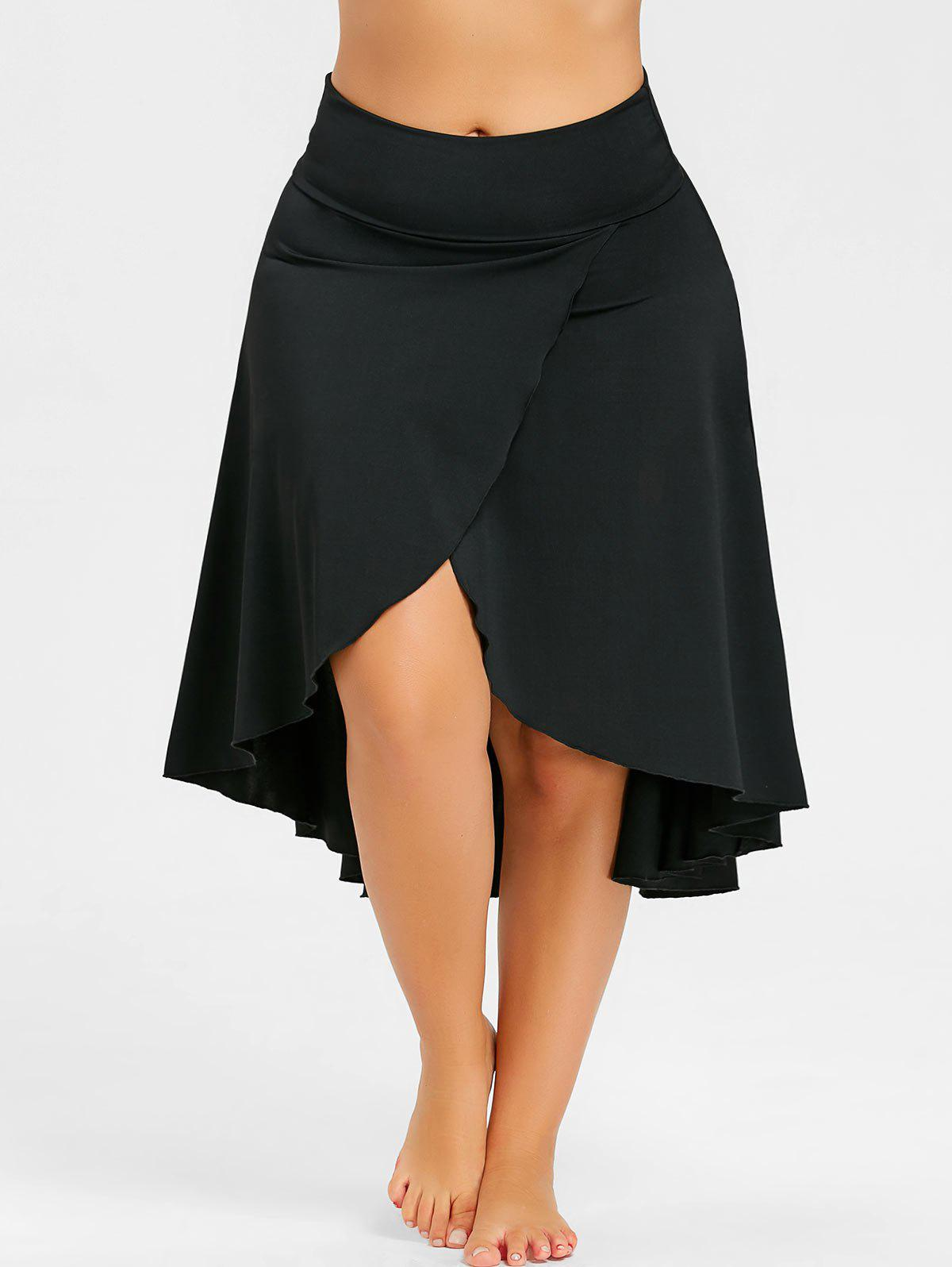Chic Plus Size Split Asymmetrical High Low Skirt