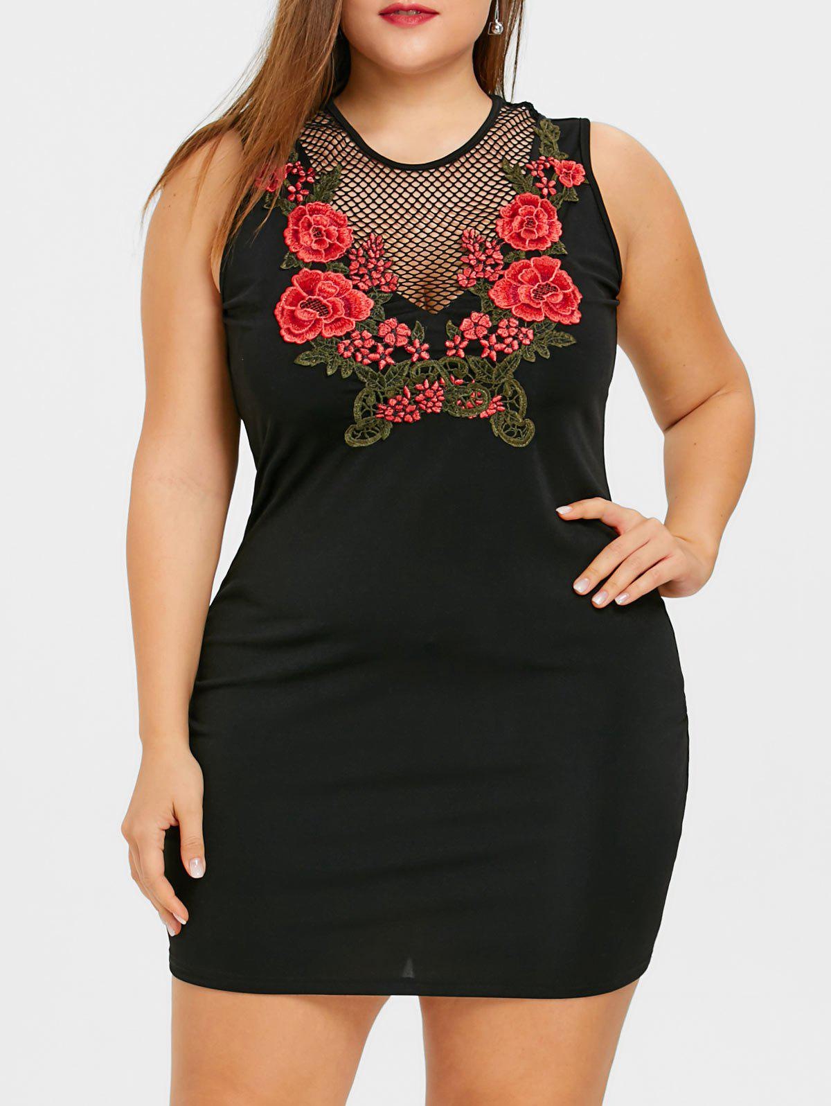 Discount Plus Size Embroidery Fishnet Insert Mini Dress