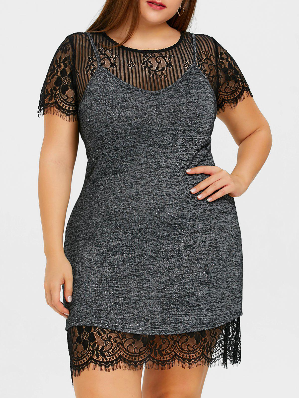 Latest Plus Size Lace Dress and Marled Tank Top