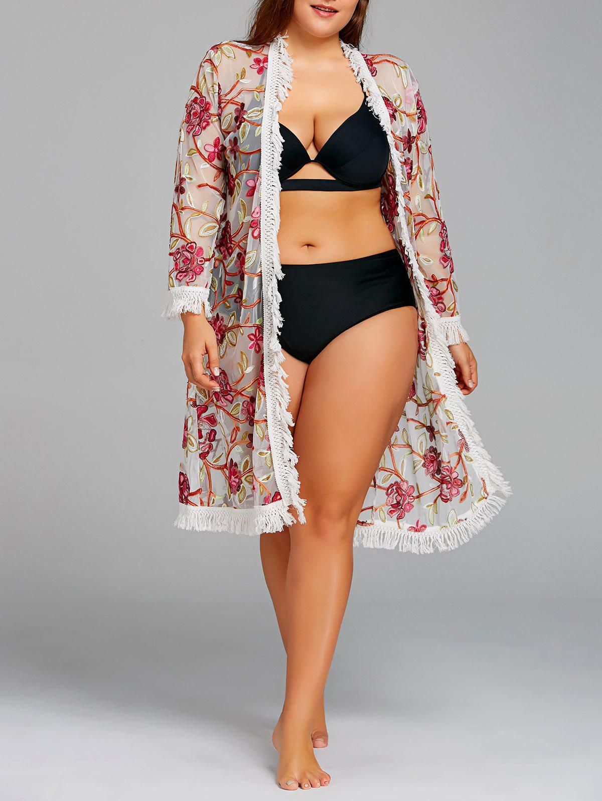 Store Embroidery Plus Size Fringed Mesh Cover-up