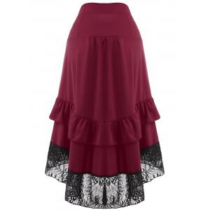High Waisted Lace Insert Party Midi Skirt -