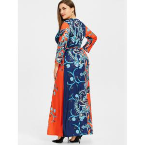 Surplice Ethnic Floral Print Plus Size Dress -