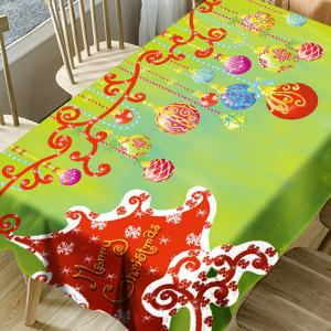 Merry Christmas Hanging Balls Pattern Waterproof Table Cloth -