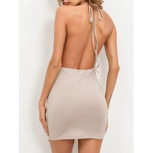 Chains Halter High Slit Backless Club Dress -