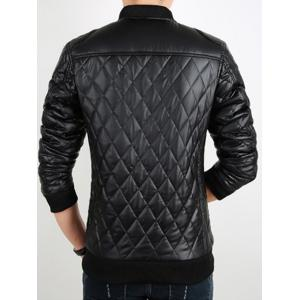 Zip Up Checkered Faux Leather Jacket -