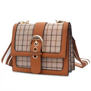 Buckle Strap Plaid Color Block Crossbody Bag -