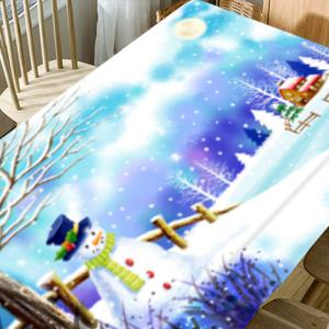 Christmas Snowscape Printed Waterproof Fabric Table Cloth -