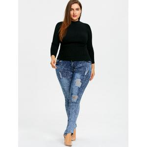 Plus Size Ripped Snow Wash Jeans -