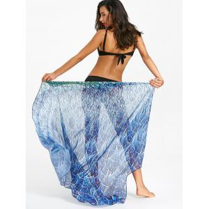 Flowy Peacock Feathers Print Beach Throw -