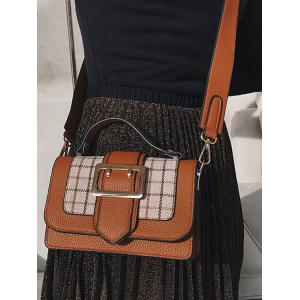 Plaid Color Block Crossbody Bag With Handle -