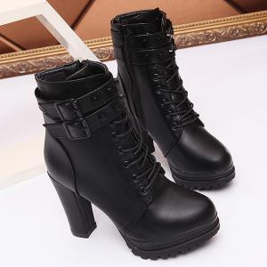 High Heel Lace Up Buckle Strap Boots -