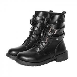 Buckle Strap Lace Up PU Leather Boots -
