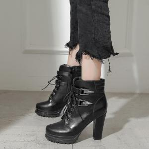 Platform Lace Up Chunky Heel Ankle Boots -
