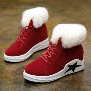 Star Patch Wedge Heel Faux Fur Ankle Boots -