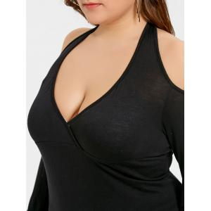 Plus Size Open Back Long Sleeve Halter Tunic Top -