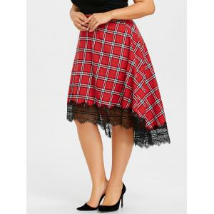 Plus Size Lace Edge Plaid Dip Hem Skirt -