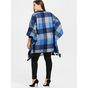 Plaid Tassel Batwing Sleeve Plus Size Coat -