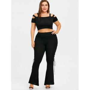 Plus Size Sides Lace Up Flare Leggings -