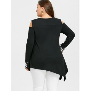 Plus Size Cut Out Tunic Embroidery Blouse -