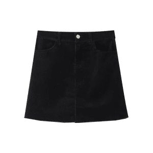 Corduroy Frayed Hem Mini Skirt -