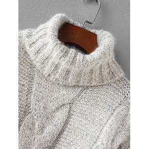 Turtleneck Textured Cable Knit Sweater -