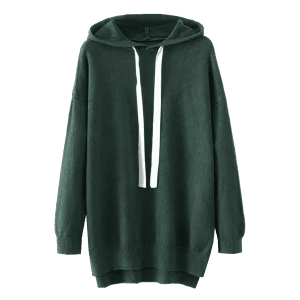 Hooded Contrast Drawstring Sweater -