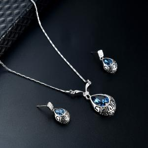 Water Drop Shape Faux Crystal Gem Jewelry Set -