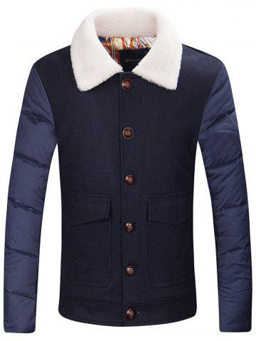 Flap Pocket Borg Collar Buttoned Padded Jacket
