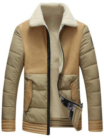 Faux Leather Insert Padded Shearling Jacket