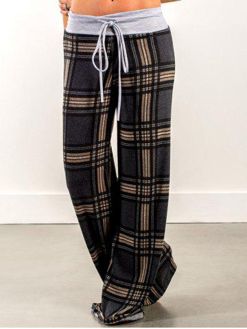 Discount Plaid Pants with Drawstring Waist