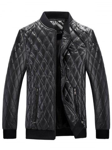 Zip Up Checkered Faux Leather Jacket