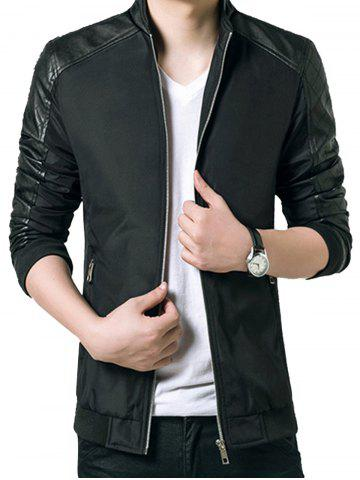 Stand Collar Faux Leather Panel Zip Up Jacket