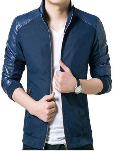 Stand Collar Faux Leather Panel Zip Up Jacket - BLUE - 2XL