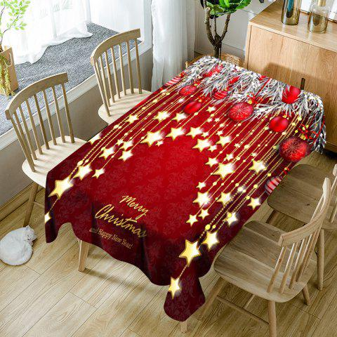 Fancy Christmas Ball and Star Printed Waterproof Table Cloth