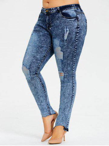 New Plus Size Ripped Snow Wash Jeans