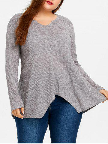 Online Plus Size Asymmetric Ribbed Tunic Sweater