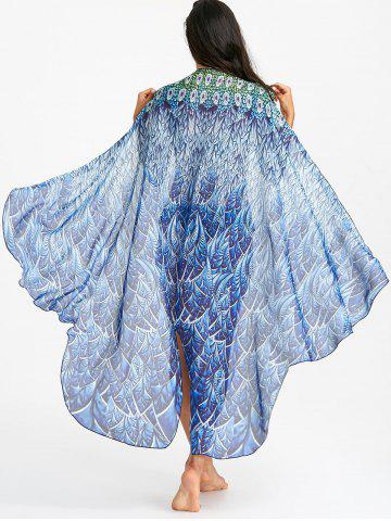 Sale Flowy Peacock Feathers Print Beach Throw