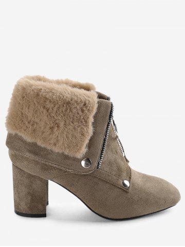 Front Zip Fur-lined Foldover Ankle Boots