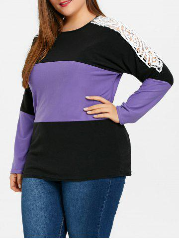 New Plus Size Lace Embellished Sweatshirt