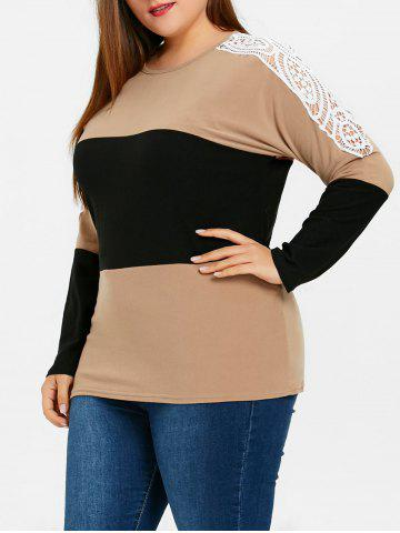 Fashion Plus Size Lace Embellished Sweatshirt