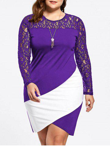 Shop Asymmetric Plus Size Lace Sleeve Pencil Dress