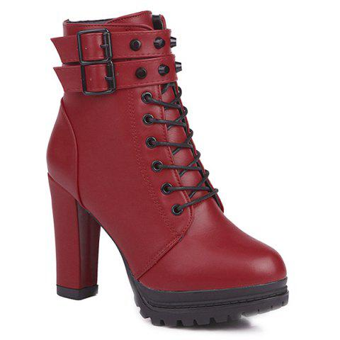 Latest High Heel Lace Up Buckle Strap Boots